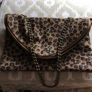 Jcrew leopard shoulder bag/clutch